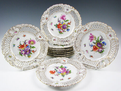 Set of 10 Antique Hand Painted Dresden Floral Reticulated Plates