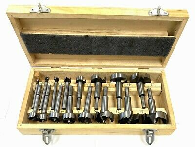 Nib 16pc Forstner Drill Bit Set Hole Saw Wood Drilling 14-2-18 Wooden Case