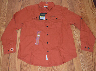 NWT Mens FIELD & STREAM Orange Brushed Cotton Poplin Long Sleeve Shirt M (Cotton Poplin Field Shirt)