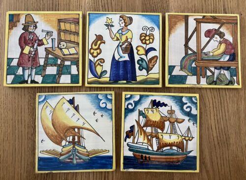 "Lot of 5 Vintage Hand-Painted Figurative Tiles Folk Art Barcelona SPAIN 6"" x 6"""