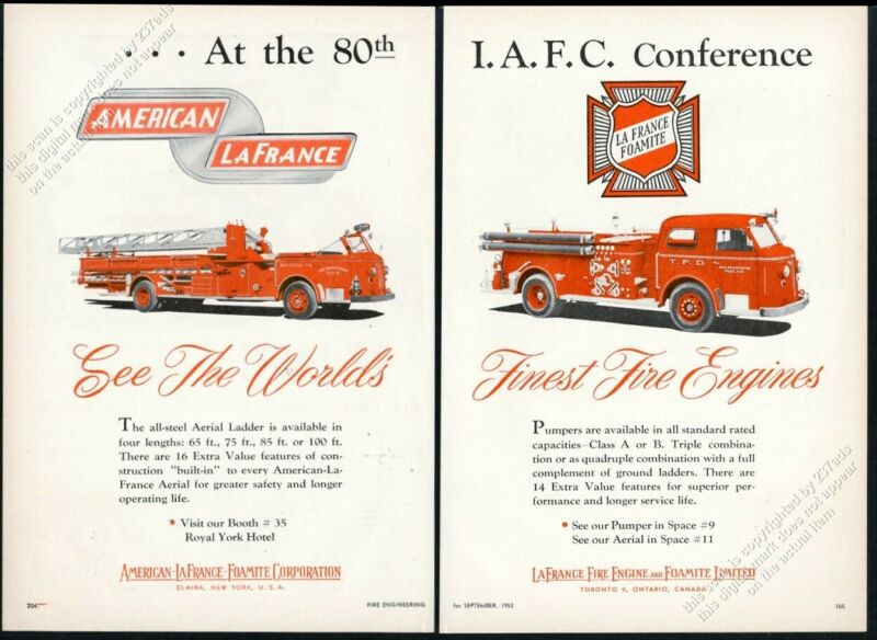 1953 American-LaFrance fire truck fire engine photo vintage trade print ad