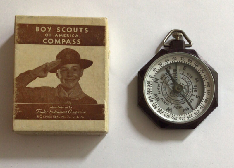Vintage BSA Boy Scout Taylor No 1075 Bar Needle Compass With Box 1940-50's