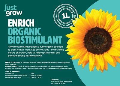 AWARD WINNING!  Just Grow ENRICH 10L Professional Organic LIQUID fertiliser