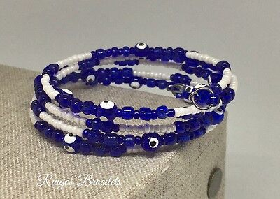 Evil Eye Bracelets Handmade Memory Wire Bracelet For Protection