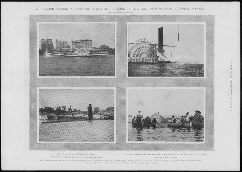 1904 Antique Print - SHIPPING USA Long Island Sound Steamer General Slocum (125