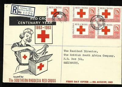 RHODESIA & NYASALAND, 1963 RED CROSS, ILLUSTRATED FDC, WITH BSAC BADGE IN WAX