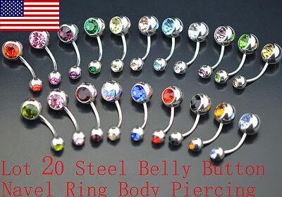 20PCS Czech Crystal Stainless Steel Ball Bead Navel Belly Ring Bar Piercing