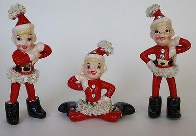 SET OF 3 VINTAGE JAPAN CHRISTMAS FIGURINE PIXIES GIRLS SANTA ELVES SPRITES NOEL