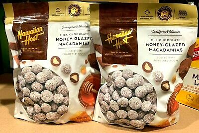 2 Packs Hawaiian Host Milk Chocolate Honey Glazed Macadamia Nuts 24 oz/Pack (Love Chocolate Milk)