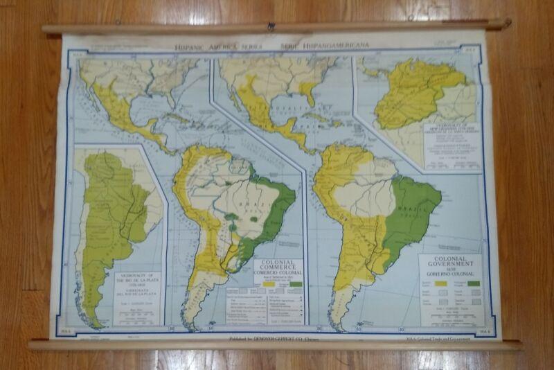 Vintage Denoyer-Geppert Hispanic America Colonial Commerce/Government map chart