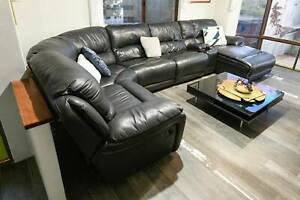 Modular Black Leather Lounge Suite with chaise and recliners
