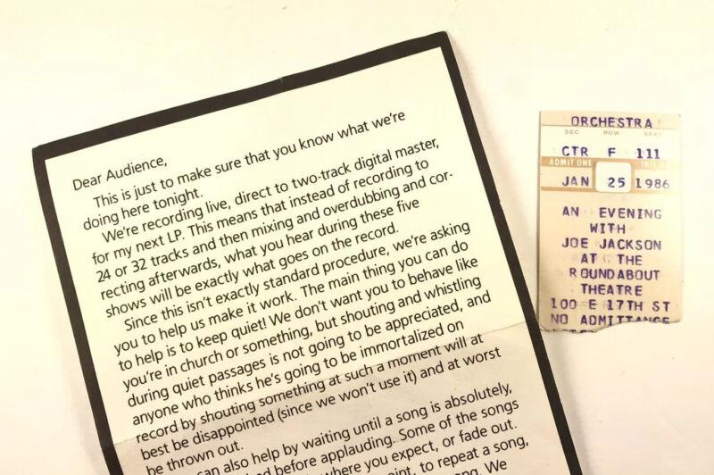 Joe Jackson Big World Roundabout Theatre Ticket Stub Audience Instructions 1986