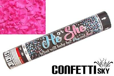 """12"""" Gender Reveal Confetti Cannon Girl Pink Baby Shower Party POP SEE"""