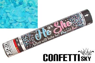 """12"""" Gender Reveal Confetti Cannon Boy Blue Baby Shower Party POP SEE"""