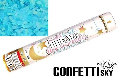"""12"""" Gender Reveal Confetti Cannon Boy Blue Baby Shower Party Little Star"""