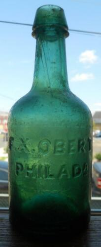 Green F. X. Obert Philadelphia Iron Pontil Slug Plate Soda Porter & Ale Bottle