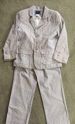 T.F. LAWRENCE-FLORENCE EISEMAN Boys' 2 Piece Blue-White Seersucker Suit SZ 6 EUC for sale  Carlsbad