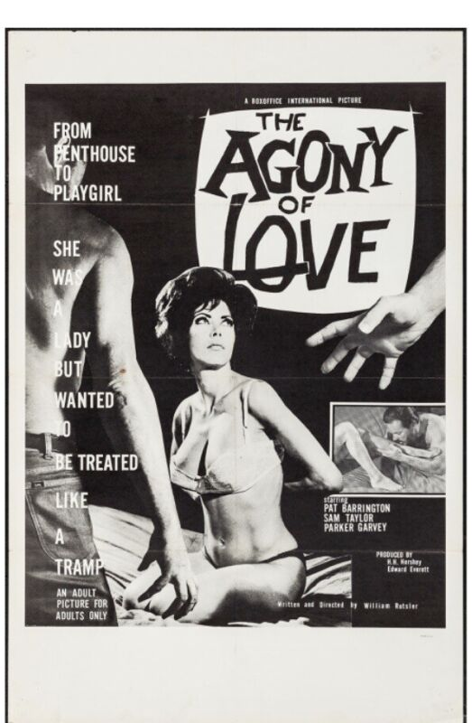 """The Agony of Love. 1966 One Sheet (27"""" X 41""""). Sexploitation. Adult Film"""
