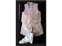 BOYS MONSOON LINEN SUIT WITH SHORTS, STONE COLOR, 2-3 YEARS