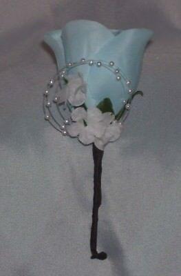 Light Blue Boutonniere Bridal Wedding Quinceanera Groom Bestman Usher Father