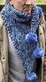 Hand knit Pom Pom scarf