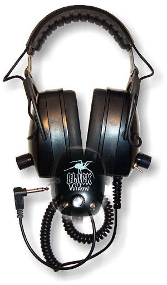Detector Pro Black Widow Headphones with Angled Plug ~ Lifetime Warranty