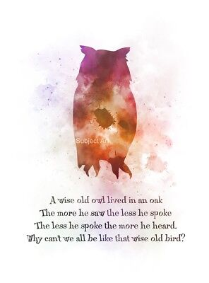 ART PRINT A Wise Old Owl, Inspirational, Quote, Nursery, Poem, Wall Art, Gift](Owl Poem)