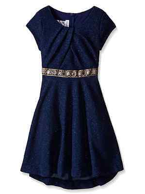 Bonnie Jean Big Girls' Textured Knit High Low Blue Dress Special Occasion 7-16