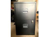 Black 2 drawer metal filing cabinet - Bisley