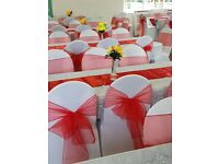 Black or white chair covers and table cloths for hire
