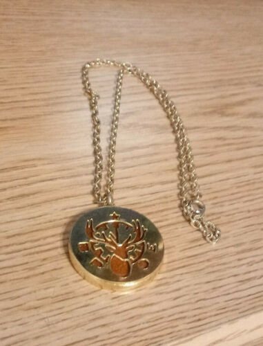 """BPOE Gold Finish 18"""" Chain Necklace  Elks carved in gold-- Inside brown stone"""