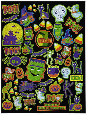 Halloween Stickers Sheet Boo Witch Candy Corn Sparkling Spooky Monster Cat - Spooky Halloween Candy
