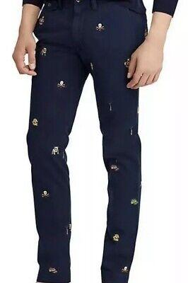Navy Blue Bulldog - Polo Ralph Lauren Men's Embroidered Bulldog Varsity Navy Blue Chino Pants, NWT