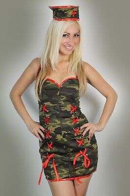Valentines Gift Womens Lingerie Army Nurse Fancy Dress Costume Basque - Army Nurse Costume