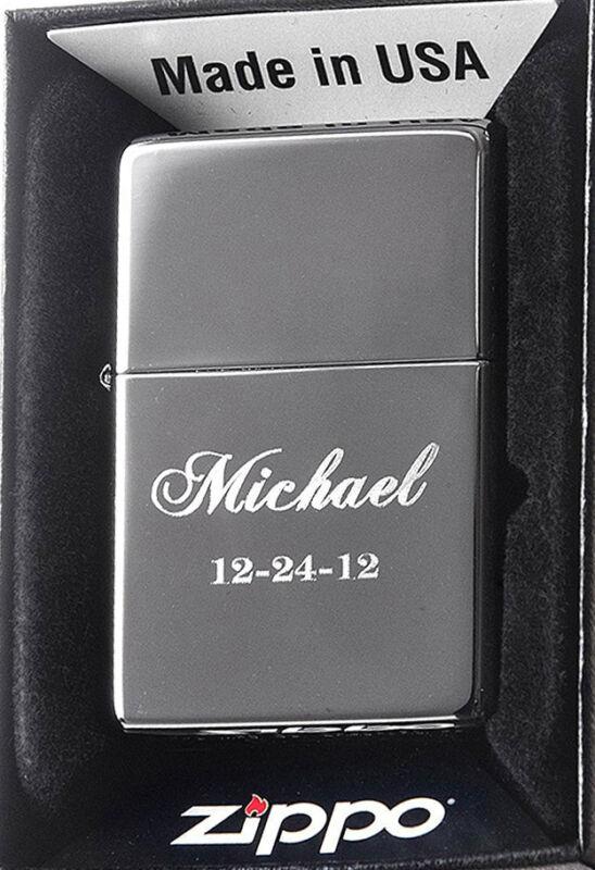 Zippo Personalized Custom Engraved Lighter, Black Ice Finish, New Gift Box 150