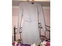 Grey Topshop Ponte Wrap Over Bodycon Dress
