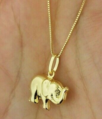 14K Yellow Gold 3D Baby Elephant Pendant Necklace Lucky Charm Small ()