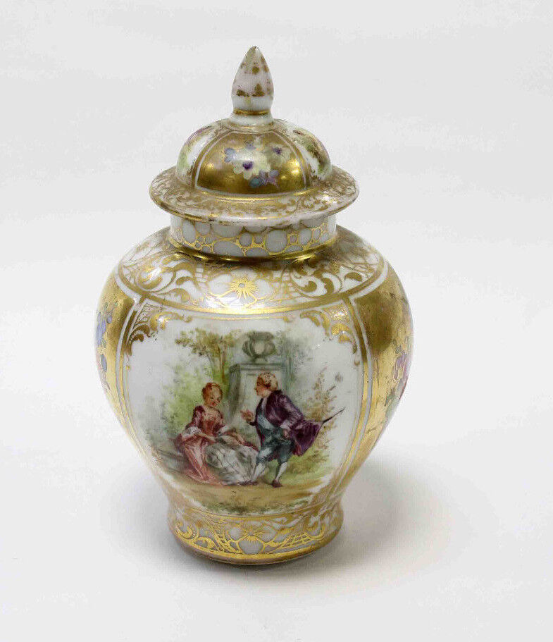 Dresden Ginger Lidded Jar Hand Painted Courting Scenes