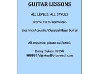 Guitar Lessons, Specialise in Beginners