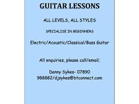Guitar Lessons, Specialise in Beginners, Experienced teacher