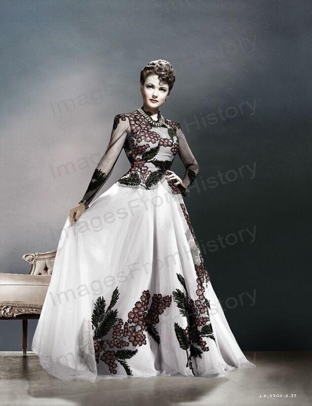 8x10 Print Gene Tierney Colorized Fashion Portrait Dress by Oleg Cassini #GTAT
