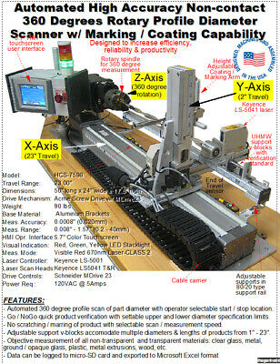 Rotary Keyence Laser Micrometer Non-contact Inspection System - See Videos