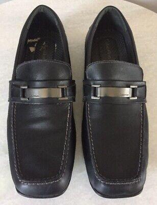 Calvin Klein F0049 Slip On Black Leather Loafers Baxter Men's Size 12