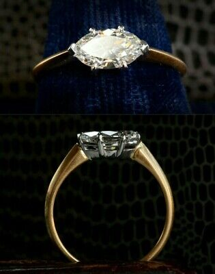 1.60ct Marquise Diamond 14K Yellow Gold Fn Vintage Engagement Wedding Ring