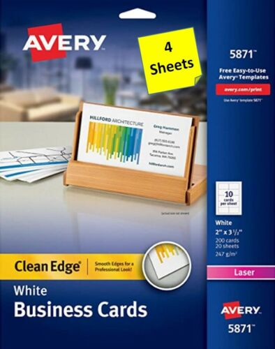 "[4 Sheets] Avery 5871/5877 White Business Cards 2"" x 3-1/2"" Clean Edge LASER"