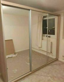 💥💯MEGA SALE 2 AND 3 MIRRORED DOORS SLIDING WARDROBES WITH SHELVES, RAILS
