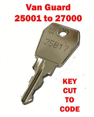 Pipe Keys Cut to Code FREE P/&P Van Guard Roof Tube Codes 25001 to 27000