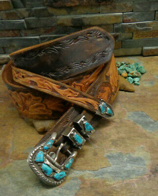 IULE STYLE NAVAJO STERLING TURQUOISE BELT BUCKLE SET 4 PIECE NATIVE OLD PAWN - Old Style Turquoise Buckle