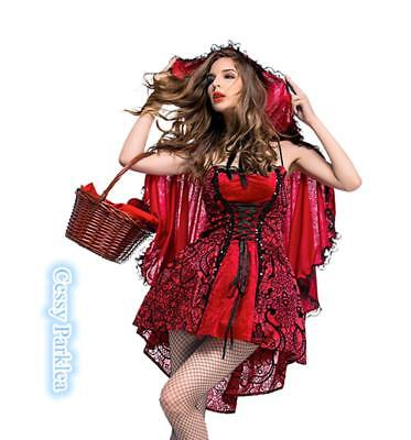 Sexy Little Red Riding Hood (Ladies Deluxe Sexy Little Lil Red Riding Hood Halloween Fancy Dress Costume)
