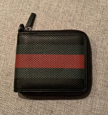 AUTHENTIC GUCCI WEB DESIGN ZIP AROUND BI-FOLD WALLET CARD HOLDER BLACK GREEN RED
